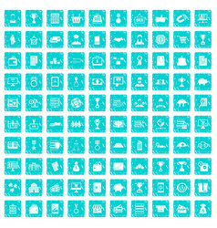 100 business icons set grunge blue vector image vector image