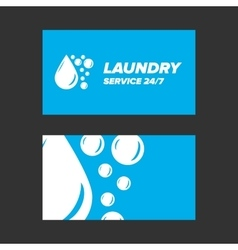 Blue laundry service business card vector