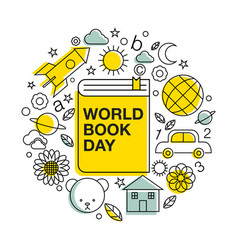 World book and copyright day logo icon line vector