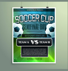 Soccer cup semifinal game versus two teams vector