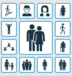 People icons set collection of ladder gentleman vector