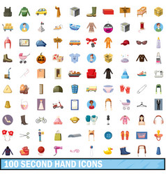 100 second hand icons set cartoon style vector