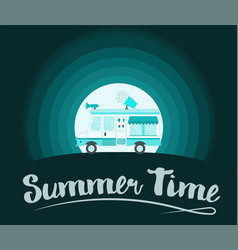Summer time poster ice cream truck vector