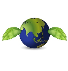Earth with two green leaves vector