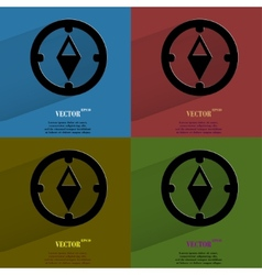 Color set compass flat modern web button with long vector
