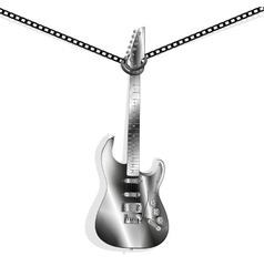 Iron guitar hanging on chains vector