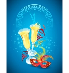 Masquerade mask and champagne happy new year vector