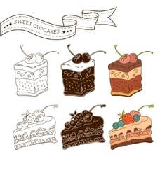 Colorful pastry collection vector