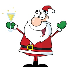 Jolly christmas santa drinking champagne vector