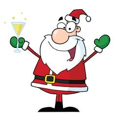 Jolly Christmas Santa Drinking Champagne vector image