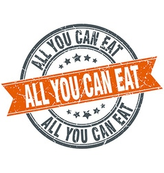 All you can eat round orange grungy vintage vector