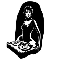 Dj girl vector