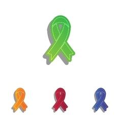 Black awareness ribbon sign colorfull applique vector