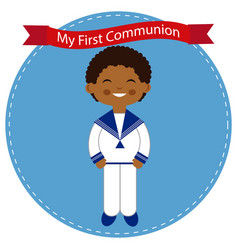 African child celebrating his communion vector