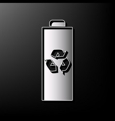Battery recycle sign gray 3d vector