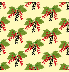 Black and red currant berry pattern vector