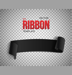 Black ribbon banner 3d realistic vector