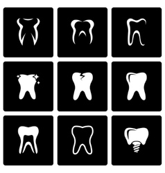 black teeth icon set vector image
