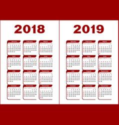 Calendar 2018 2019 vector