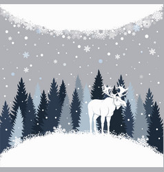 Card with elk on the forest background and snow vector