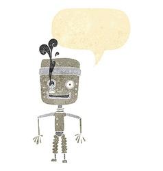 Cartoon malfunctioning robot with speech bubble vector