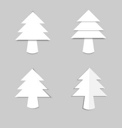 christmas tree white paper with shadow vector image