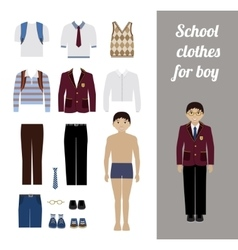 Create school boy kit with different uniforms vector
