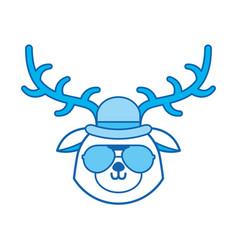 cute blue icon vintage deer face cartoon vector image vector image