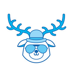 cute blue icon vintage deer face cartoon vector image