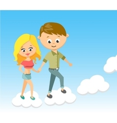 Cute cartoon boy and girl with love walking on vector
