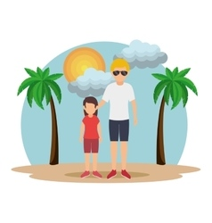 Cute family member on the beach vector