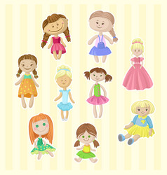 cute female dolls set lovely toys for little vector image