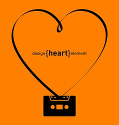 design element heart from tape and audiocassette vector image