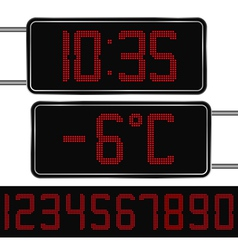 digital clock and thermometer vector image vector image