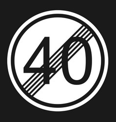 End maximum speed limit 40 sign flat icon vector