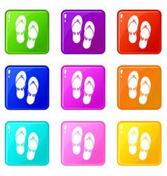 Flip flop sandals set 9 vector