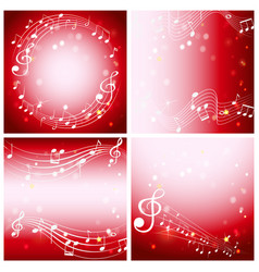 Four red background with music notes vector