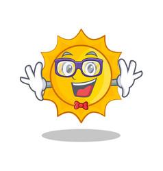 geek cute sun character cartoon vector image