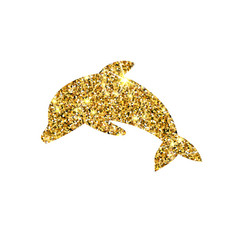 Gold glitter dolphin golden sparcle fish vector
