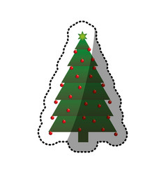 Green christmas tree sticker with trunk and vector