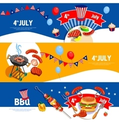 Independence day celebration bbq banners set vector