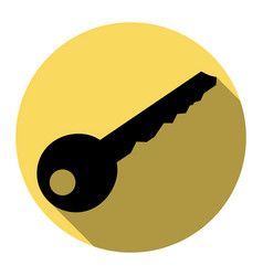 Key sign flat black icon vector