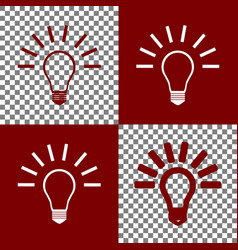 Light lamp sign bordo and white icons and vector