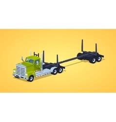 Low poly empty log truck vector