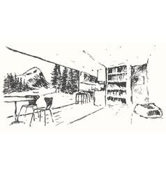 Modern bar restaurant cafe kitchen drawn sketch vector image