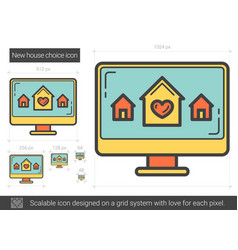 New house choice line icon vector