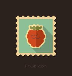 raspberry flat stamp fruit vector image vector image