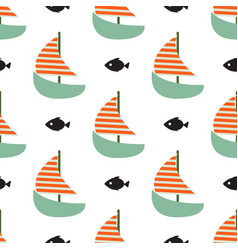 Sailboat and fish seamless child funny vector