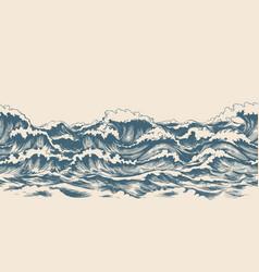 sea waves sketch pattern vector image
