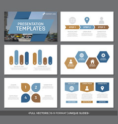 set of blue and brown elements for multipurpose vector image